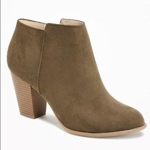 Old Navy | Olive Suede Ankle Bootie Sz 10